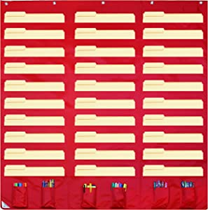 30 Pocket Storage Pocket Chart and Hanging Wall File Organizer with 6 Accessory Pockets. Best Pocket Chart for School, Classroom, Home, or Office Use. Easy Wall Pocket Chart Organizer (Red)