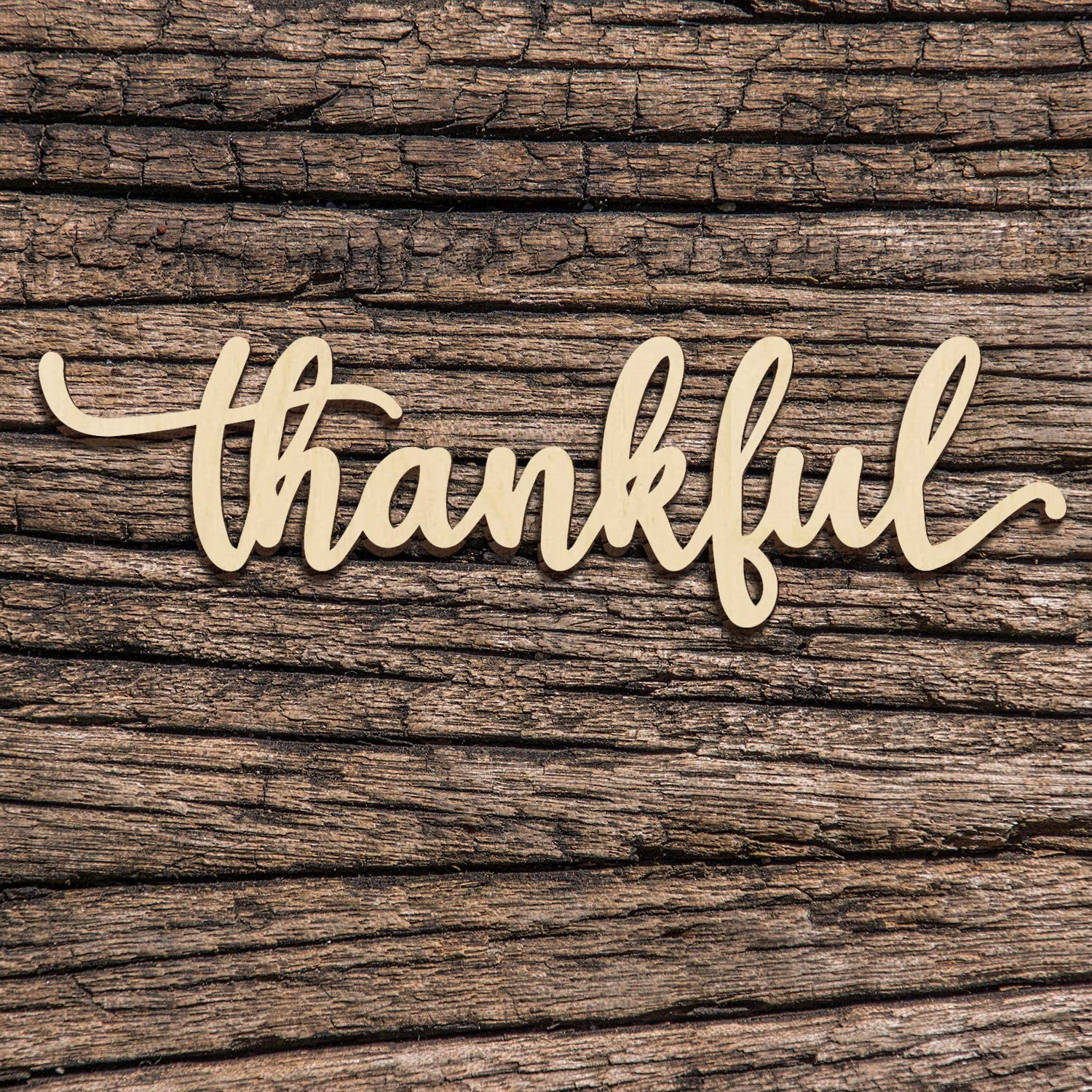 Zhuper Thankful Word Sign Wall Decor Wood Cutout Unfinished Rustic Thankful Signs Home Decoration Wall Art 12
