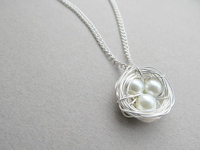 Amazon wire wrapped birds nest necklace custom necklace gifts wire wrapped birds nest necklace custom necklace gifts for mom silver white aloadofball Choice Image
