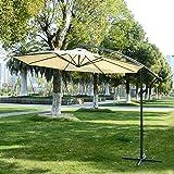 Outsunny 3m Garden Parasol Sun Shade Patio Banana Hanging Umbrella Cantilever With Crank Handle + 8 ribs + Pole (Cream)