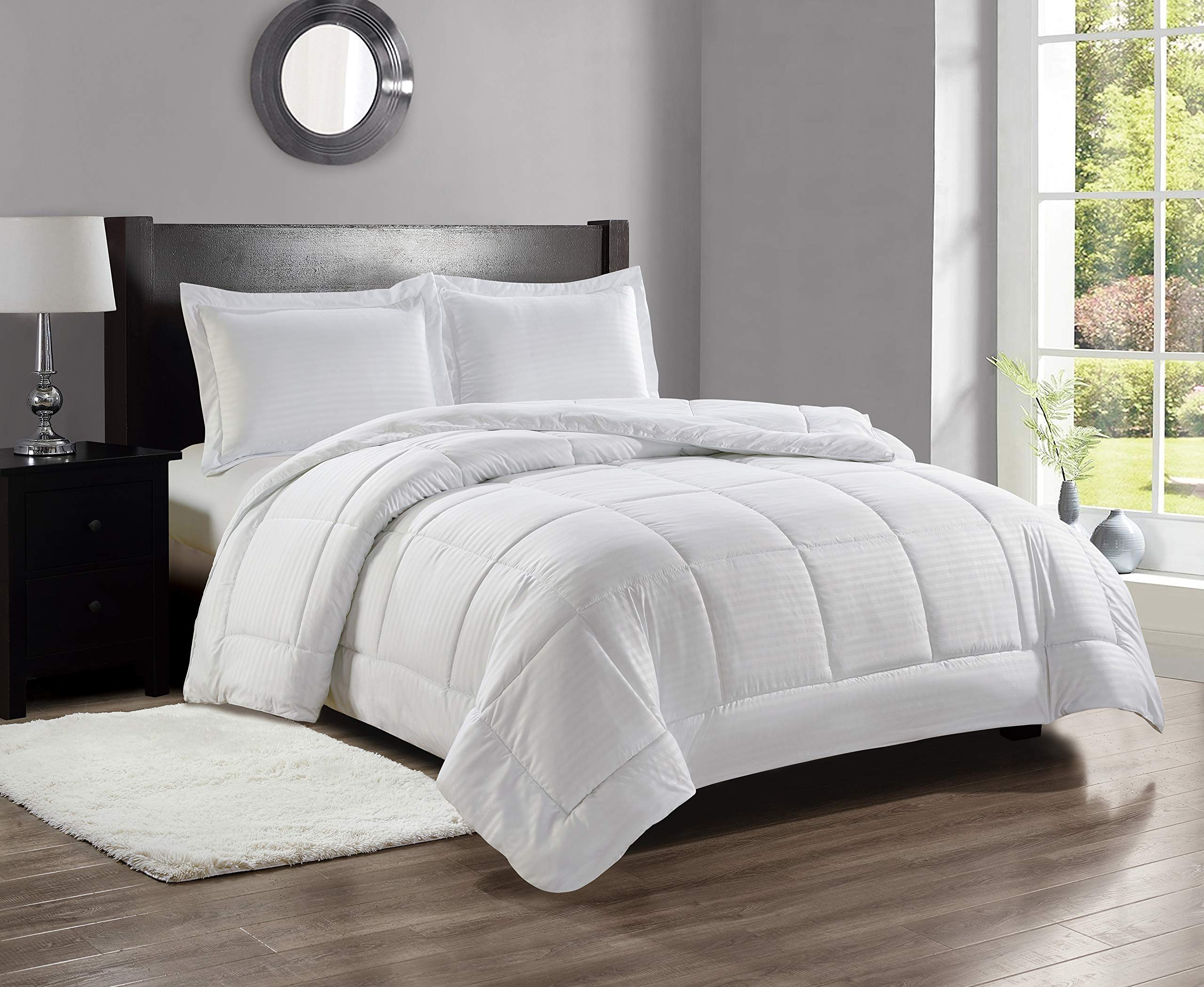 Decor&More Home Essentials Full/Queen Size Reversible Down Alternative Embossed Stripe Comforter (86'' x 86'') - White