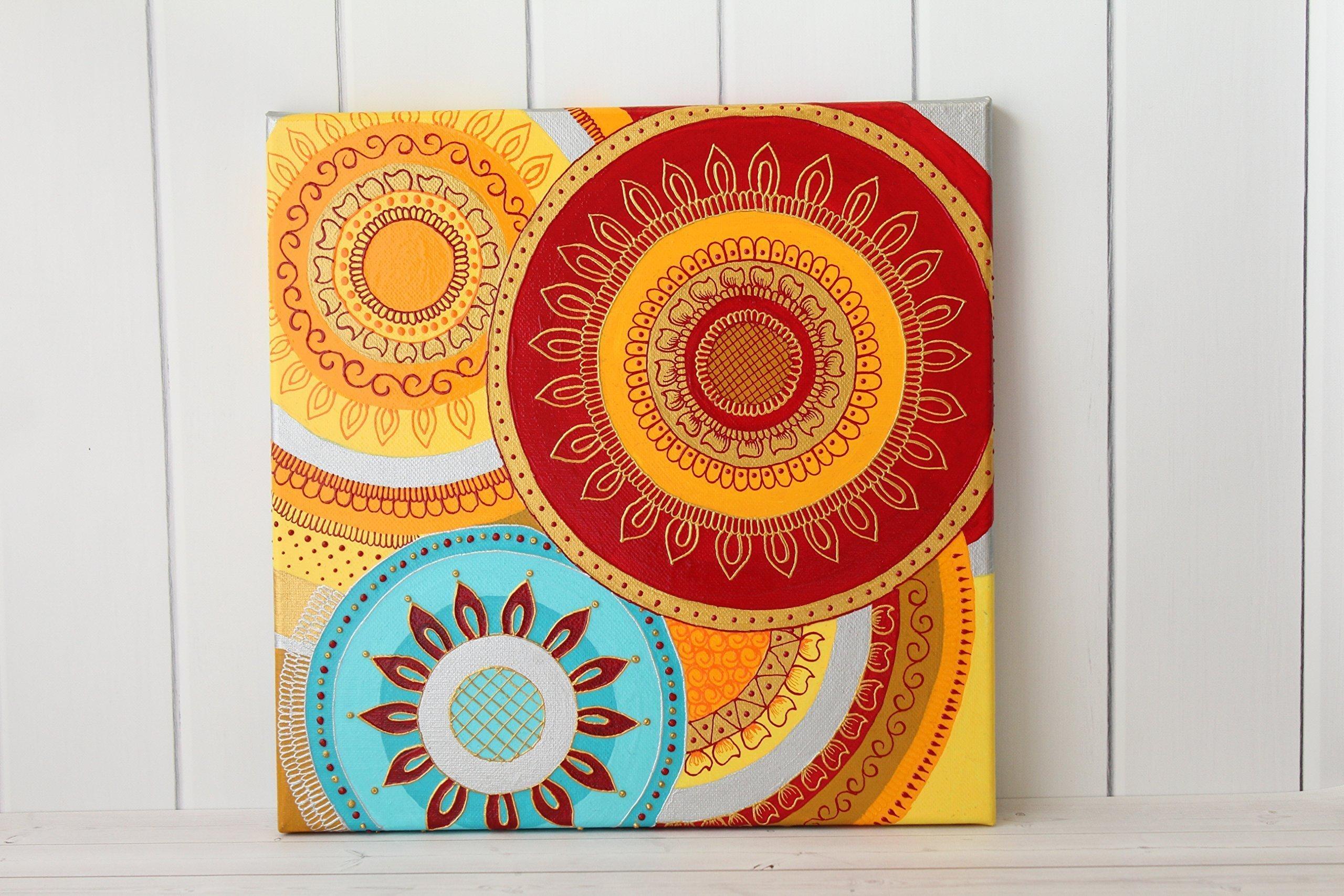 Red Blue Yellow Mandala Painting Holiday and Housewarming Gift