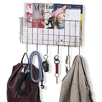 wall35 cesta de alambre de metal perchero de pared con ganchos de correo y  organizador de vestíbulo clave revistero cobre  Amazon.es  Oficina y  papelería a3ce825e5b5a
