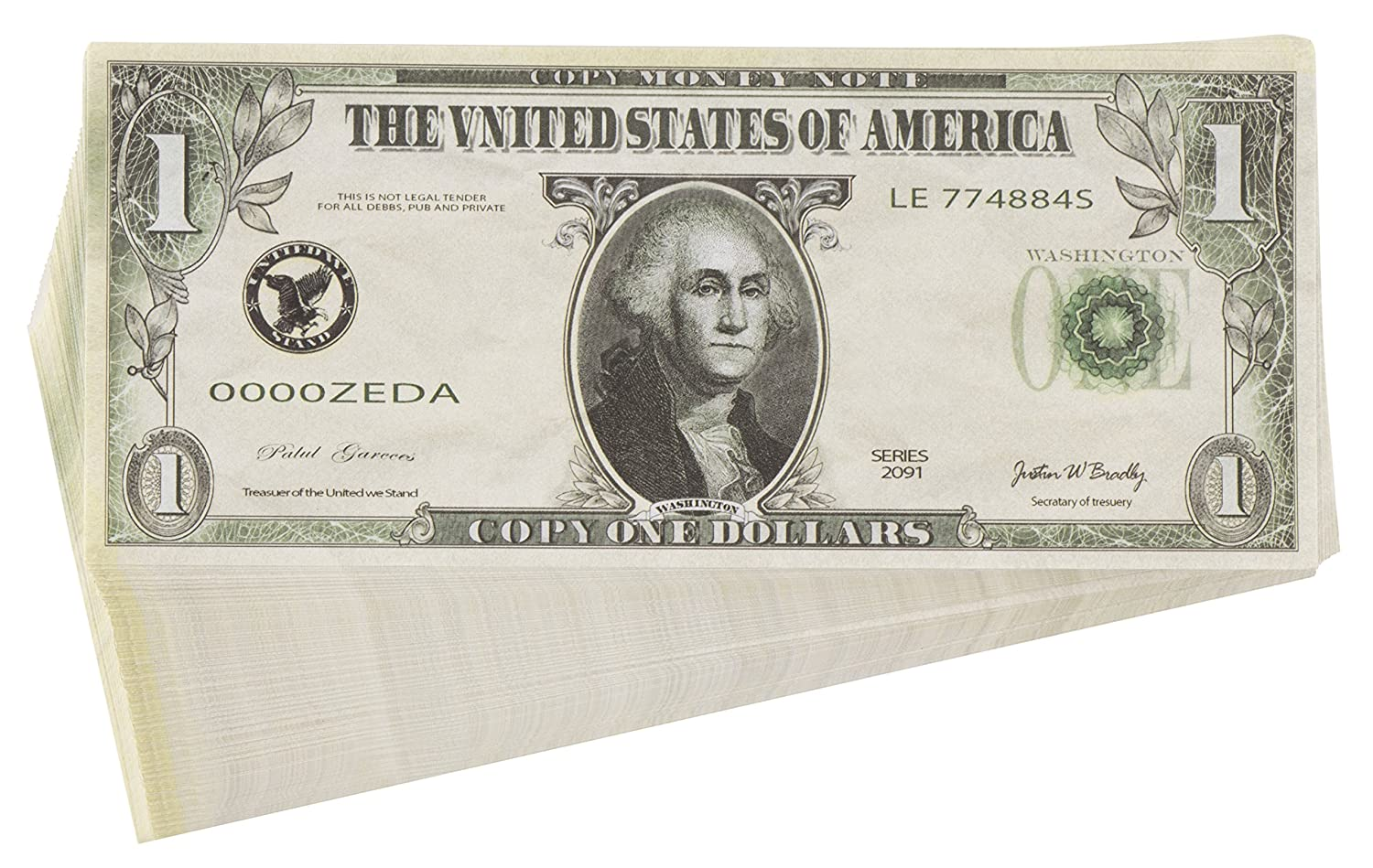 Juvale 200 Pack Play Bills - Prop Money Fake Money, Realistic Pretend Play  Money, Double Sided $1, One Dollar Bills, 2 6 x 6 1 Inches