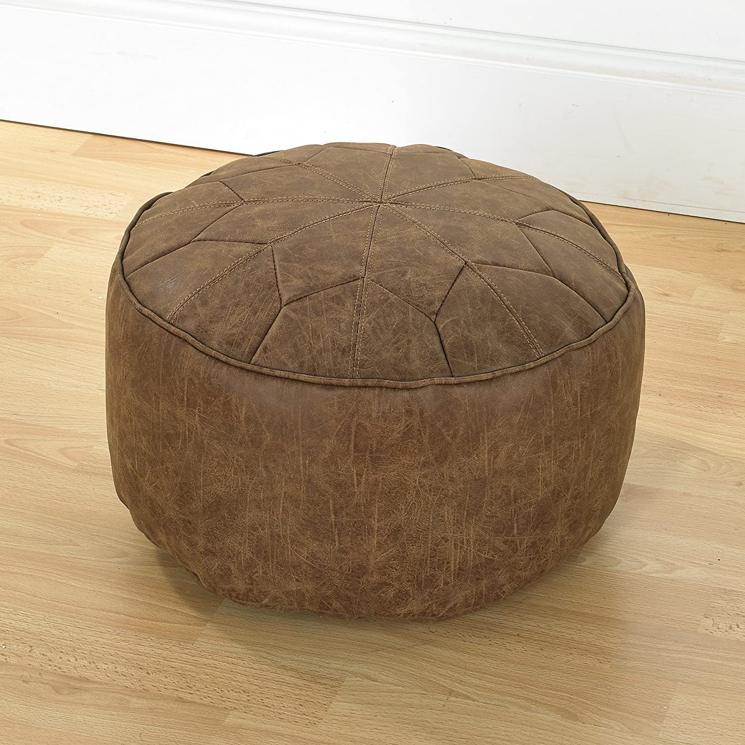 Faux Leather Bean Bag Footstools Moroccan Style Antique Effect 40cm Wide x 20cm High (Brown) Better Dreams