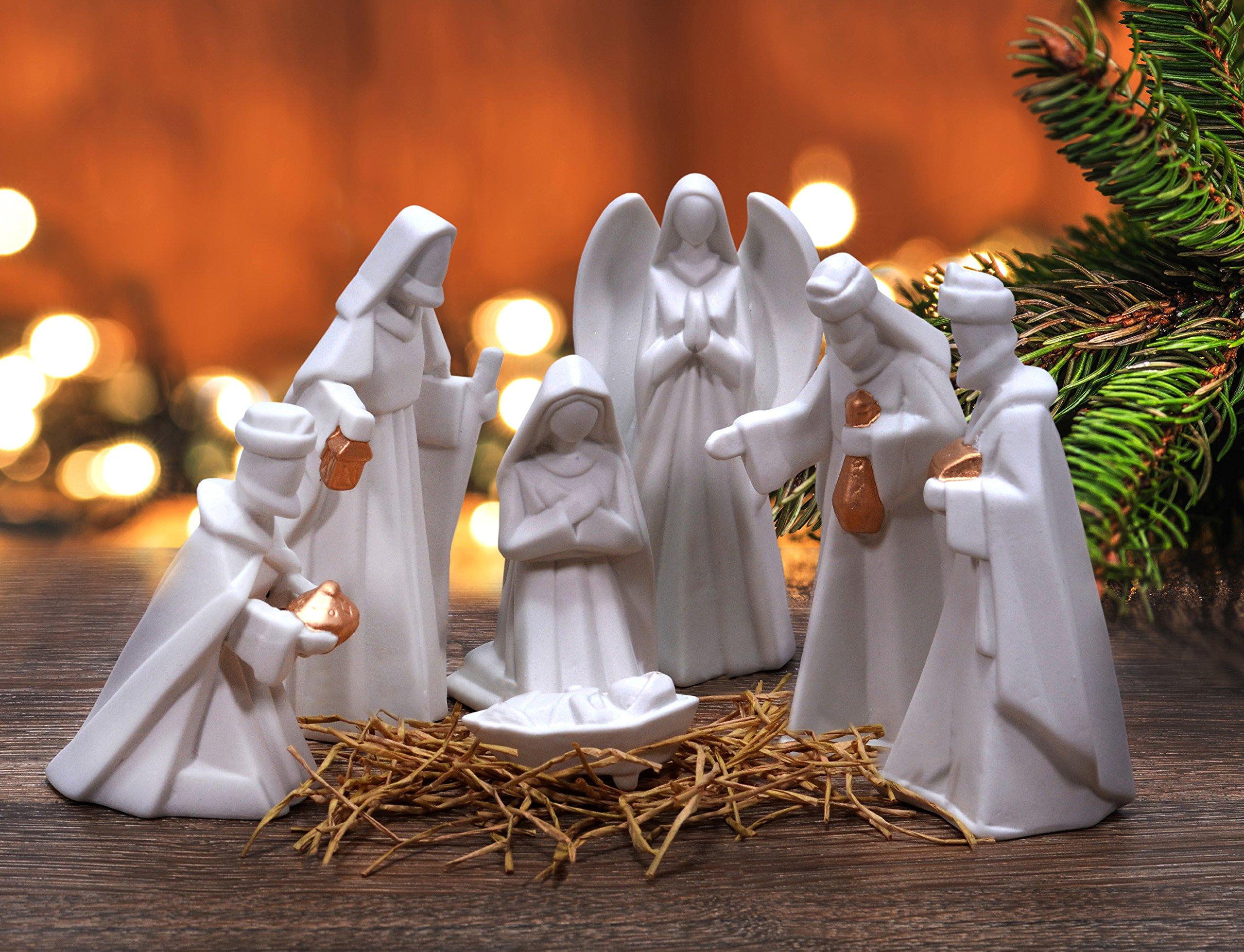 Mark Feldstein White Porcelain 7 PC Hand Painted Miniature Christmas Nativity Set, Boxed