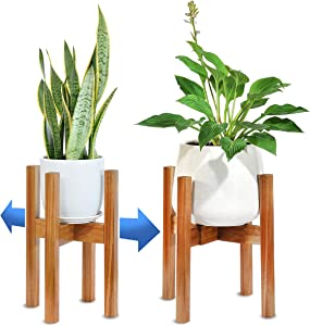 "BOTANU Indoor Plant Stand for Home Decor - Plant Holder Stand(1-Pack) - Multipurpose Flippable Planter Stand - 16"" Tall Plant Stand Indoor - Mid Century Plant Stand(8-12"") - Acacia Wood Plant Stand"