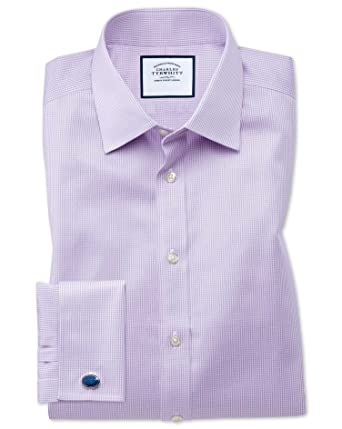 62e5a5ed Classic Fit Non-Iron Puppytooth Lilac Cotton Formal Shirt Double Cuff by Charles  Tyrwhitt: Amazon.co.uk: Clothing