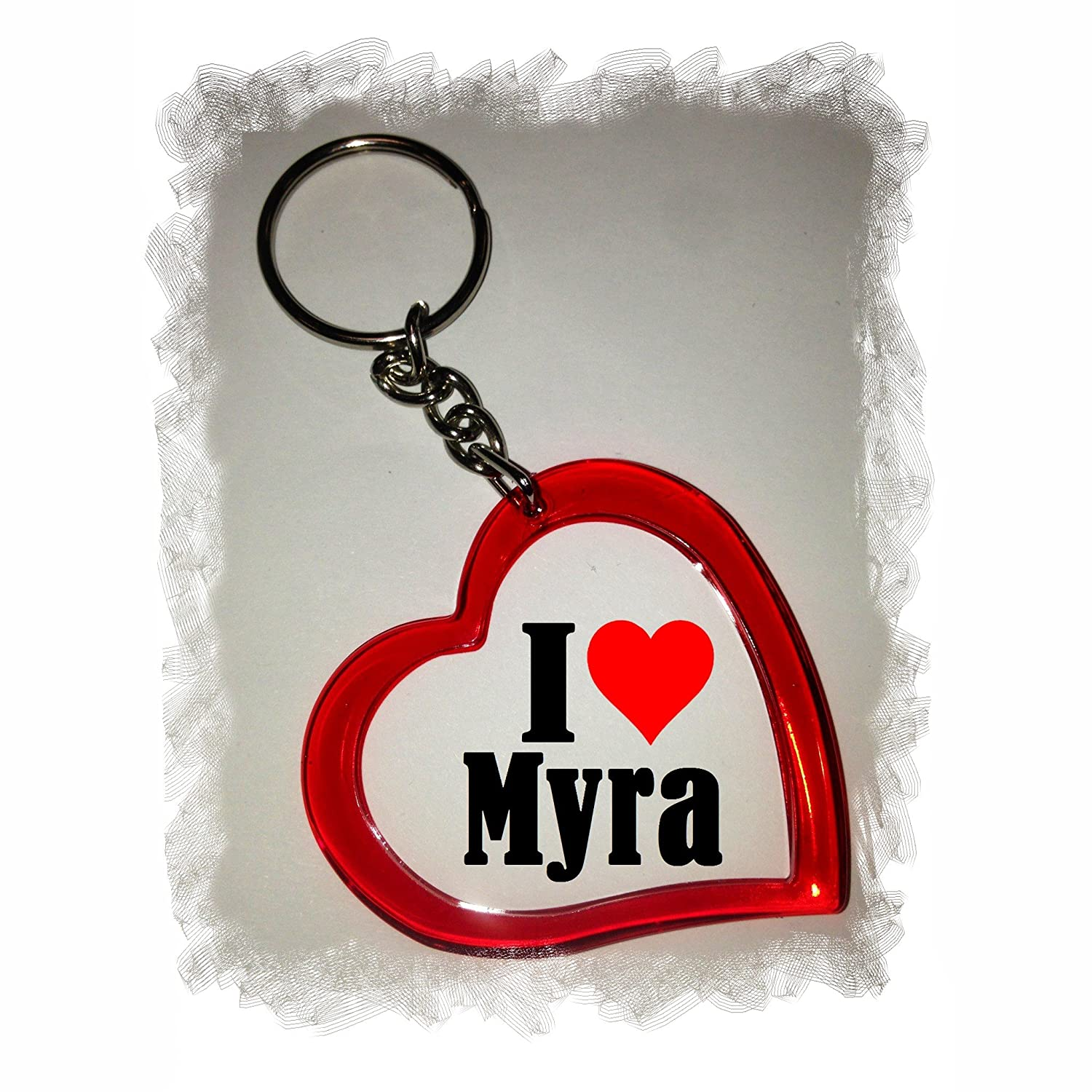 Exclusive Gift Idea: Heart Keyring I Love Myra, a Great gift that comes from the Heart - Backpack pendant - love pendant - Keychains- Keyring- Christmas Gift Druckerlebnis24