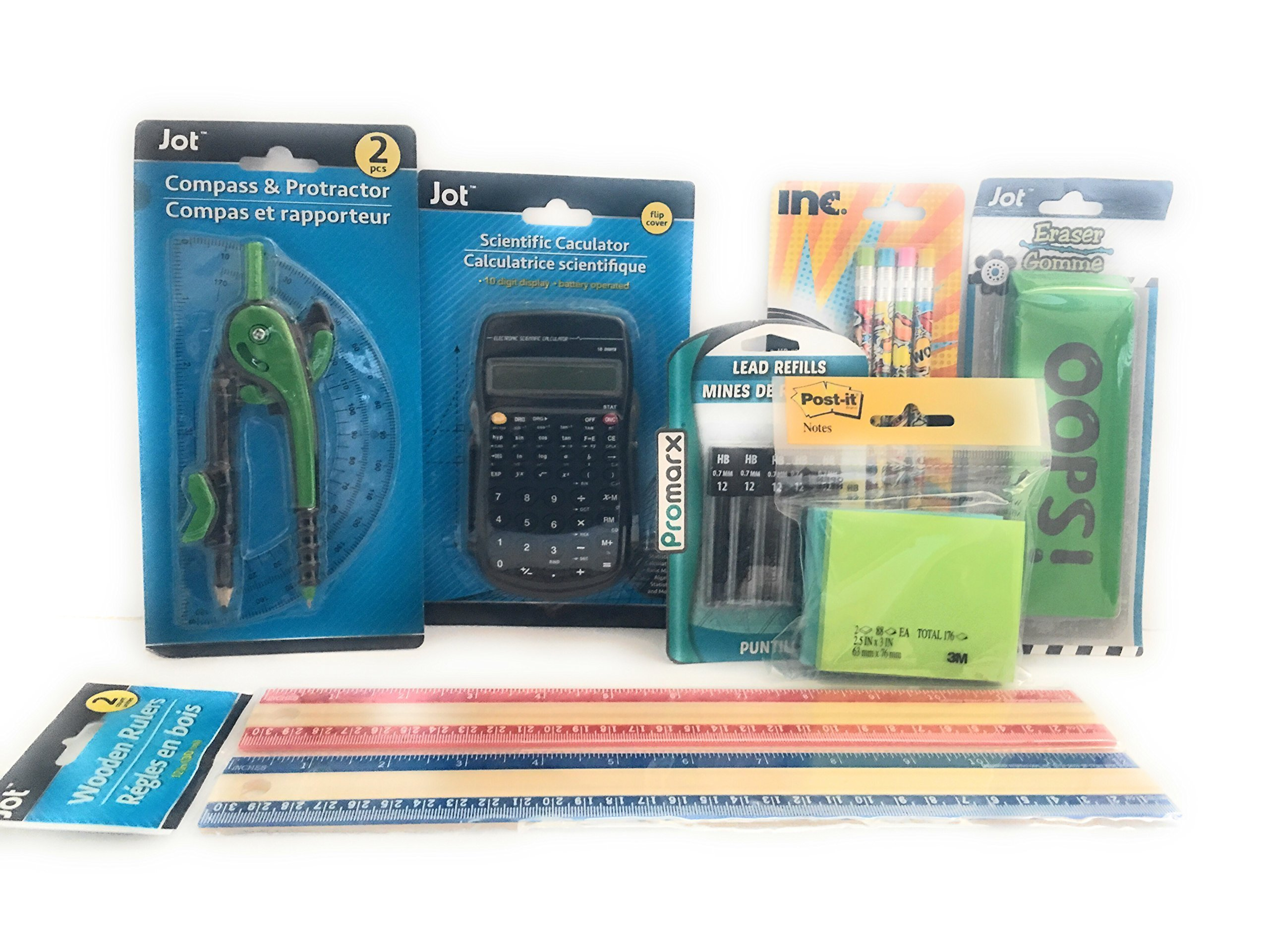 Grade School Math Arithmetic Tool Set - 7 Pieces Compass & Protractor, Eraser, Lead Refills, Mechanical Pencils, Post-it, Scientific Calculator and Wooden Rulers