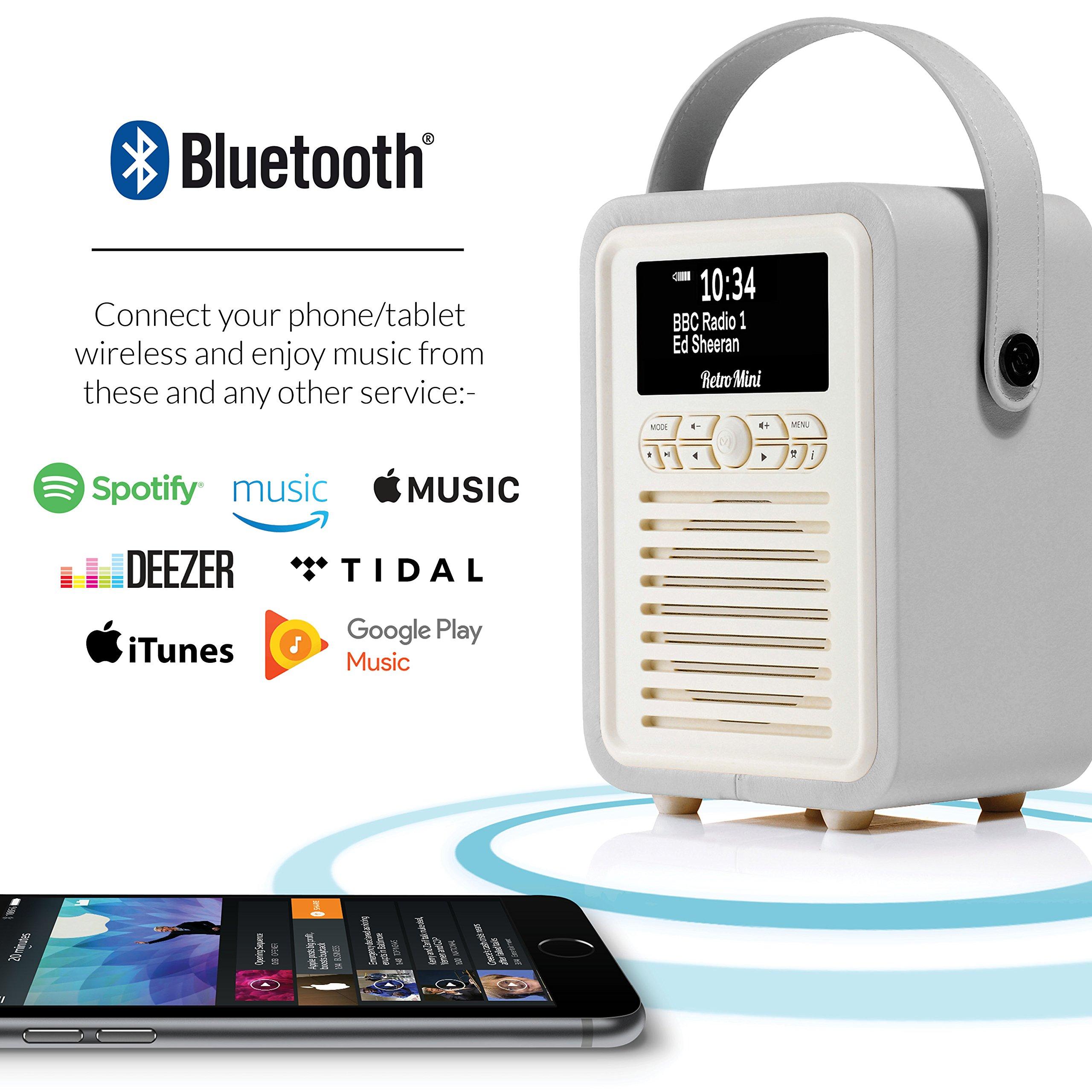 Retro Mini by VQ   Radio & Bluetooth Speaker with AM/FM & HD Radio, Dual Alarm Clock Mains or Battery – Premium PU Leather Case Light Grey by VQ (Image #4)