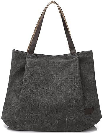 aa6d69f0167e40 DCCN Canvas Shopper Bag Damen Handtasche Einkaufstasche mit Große Kapazität  48 * 38 * 15cm