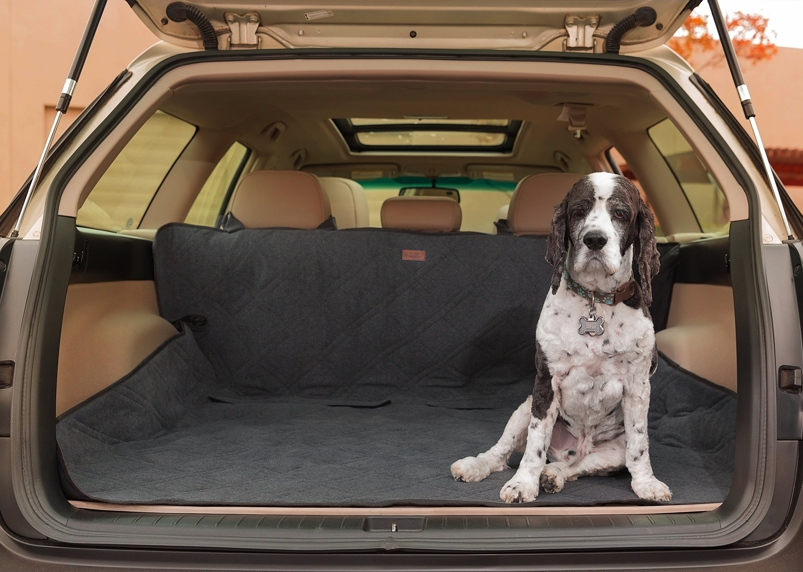 Friends Forever Premium Dog Trunk Cover, Dog Hammock for Back Seat - Reversible Dog Seat Cover for Back Seat with Seat Anchor, Water-Proof & Non-Slip, Black