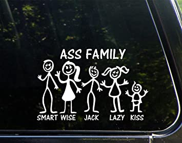 Ass Stick Figure Family X Funny Die Cut Decal Bumper - Family decal stickers for carsamazoncom stick family stick family car window wall laptop decal