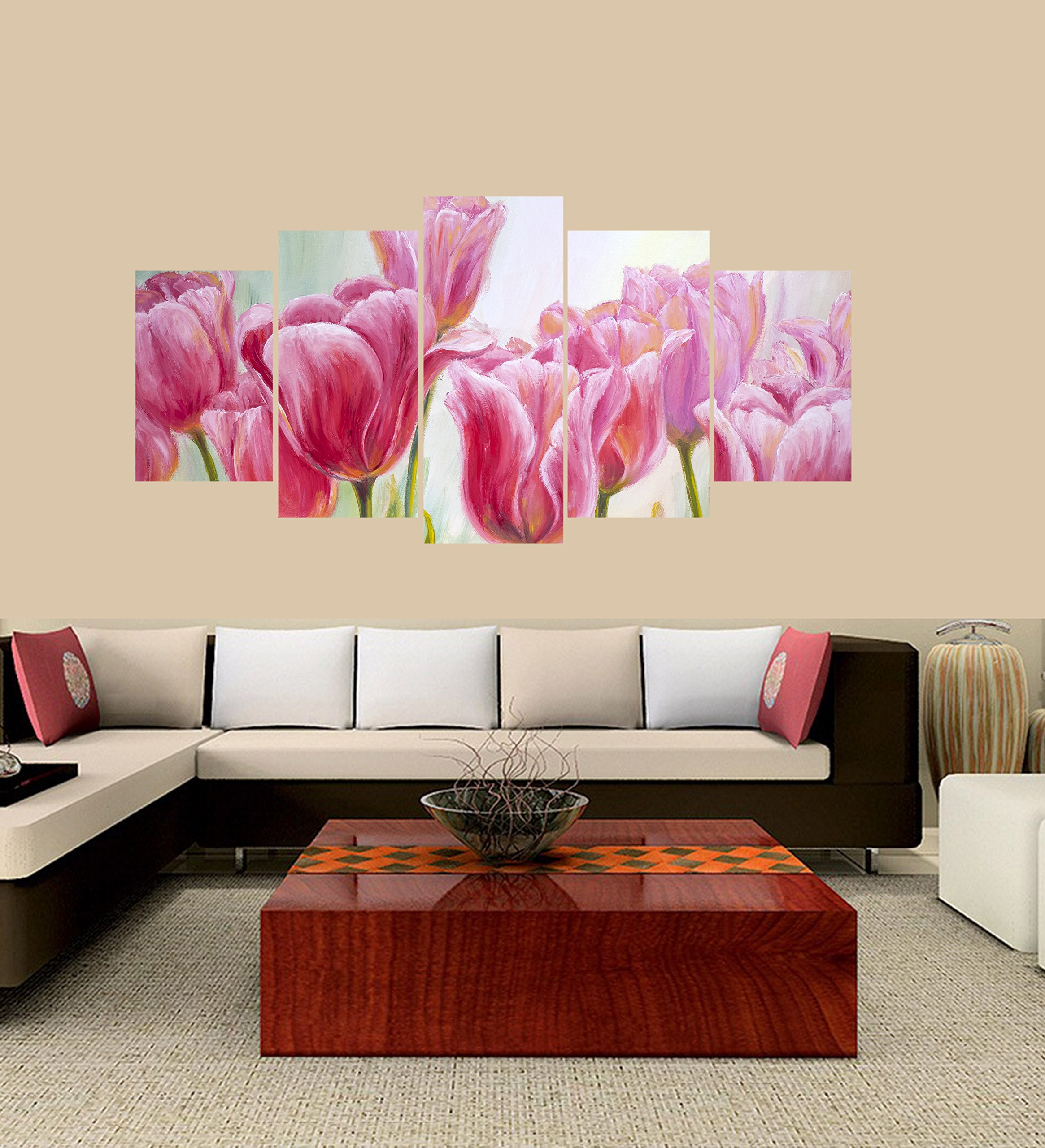 PEACOCK JEWELS Premium Quality Canvas Printed Wall Art Poster 5 Pieces / 5 Pannel Wall Decor Tulips Flowers Painting Painting, Home Decor Pictures - Framed