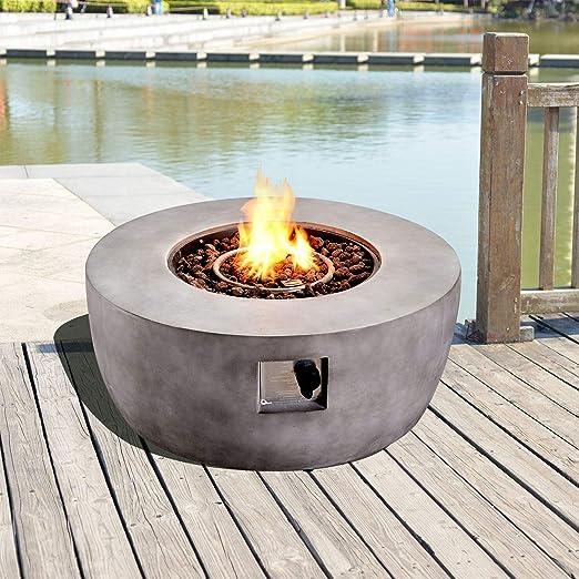 Peaktop Outdoor Runde Stein Propan Gas Feuerstelle mit ...