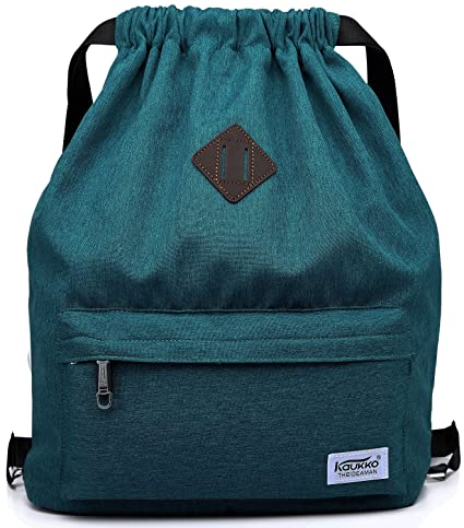 Mochila Cordon para Deportes KAUKKO Bolso Oxford Unisex para Nadar/Surfear/Viajar/Hacer Senderismo/Yoga (Azul)
