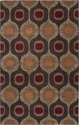 Surya Forum FM-7170 Transitional Hand Tufted 100 Wool Dark Chocolate 8 x 10 Kidney Global Area Rug