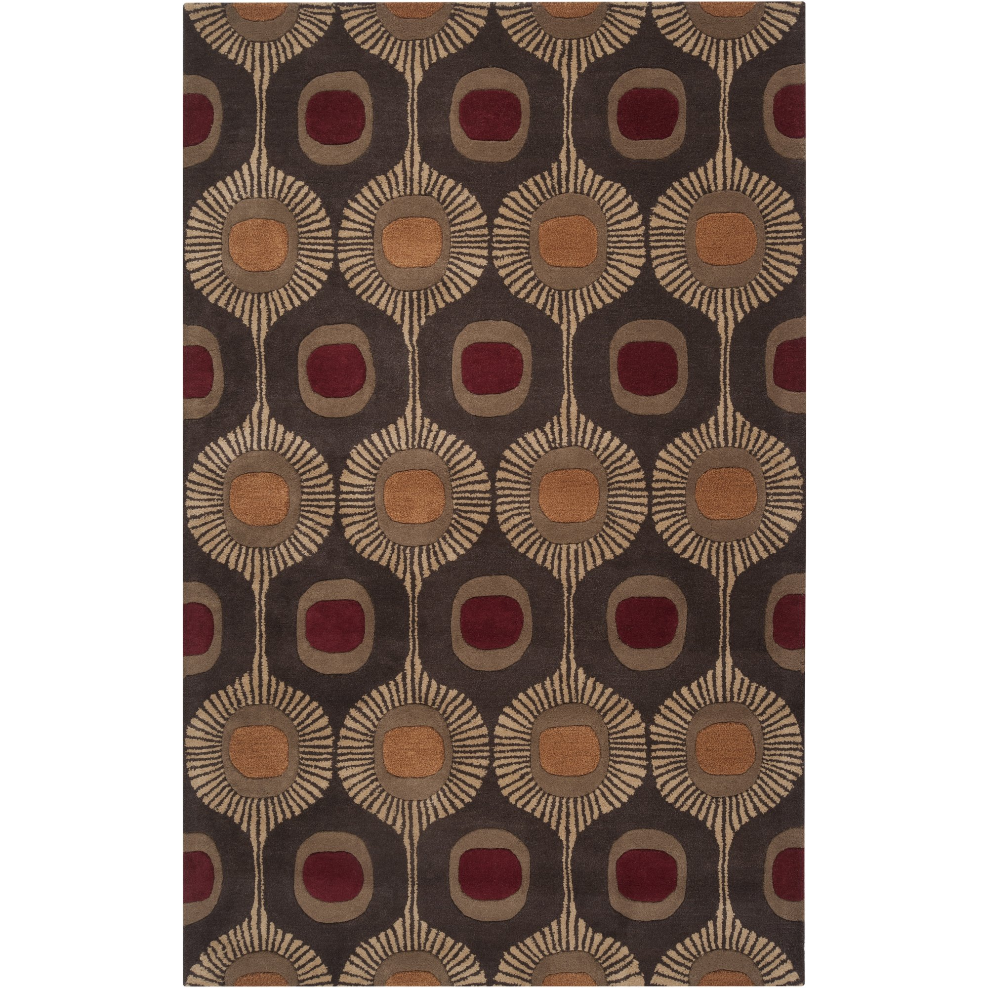 Surya Forum FM-7170 Transitional Hand Tufted 100% Wool Dark Chocolate 2'6'' x 8' Global Runner