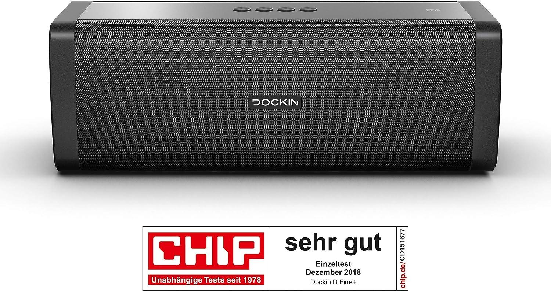 DOCKIN D Fine+ 50W Altavoz Portátil Inalámbrico, Impermeable IP55, Bluetooth 4.2 + EDR, hasta 14 Horas de Reproducción, Sonido de Alta Fidelidad y Estéreo, Powerbank, NFC, Negro, Diseñado en Alemania