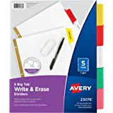 Avery Big Tab Write & Erase Dividers, 5 Multicolor Tabs, 1 Set (23076)