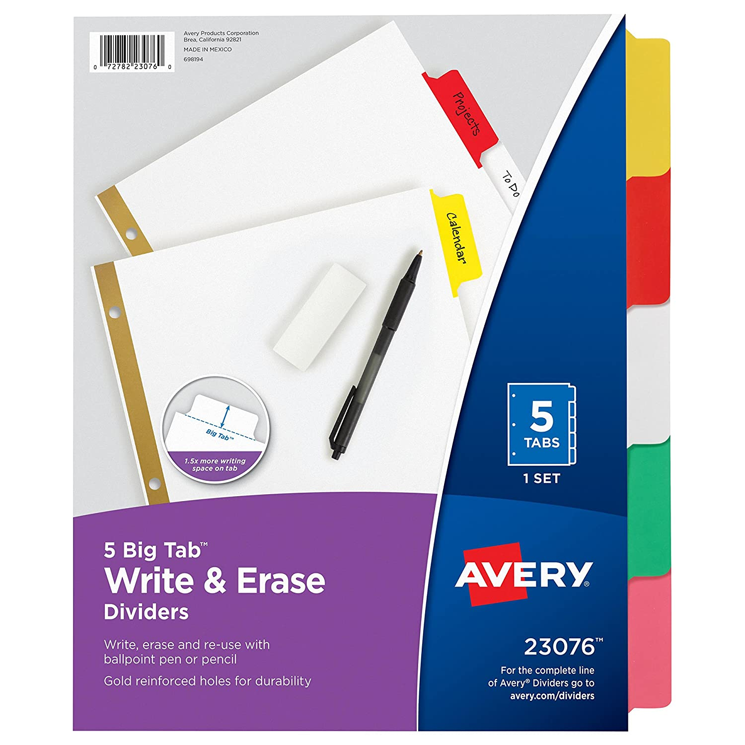 Avery Big Tab Write-On Dividers, 8-Tab Set (23078)
