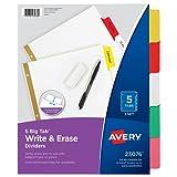 Avery Big Tab Write & Erase Dividers, 5 Multicolor Tabs, 1 Set (23076)