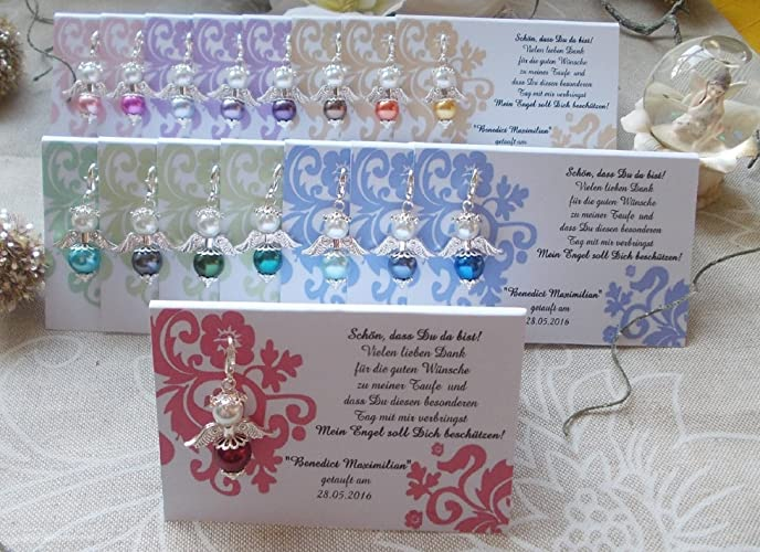 Tischkarte Engel Blumenranke Gastgeschenk Hochzeit Taufe Kommunion