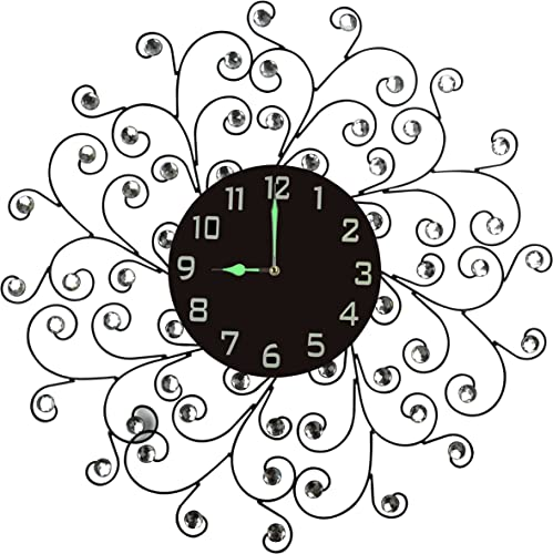 Lulu Decor, Creeper Metal Wall Clock 25 , 9.5 Black Glass Dial with Arabic Numbers, Decorative Night Dial Clock for Living Room, Bedroom, Office Space