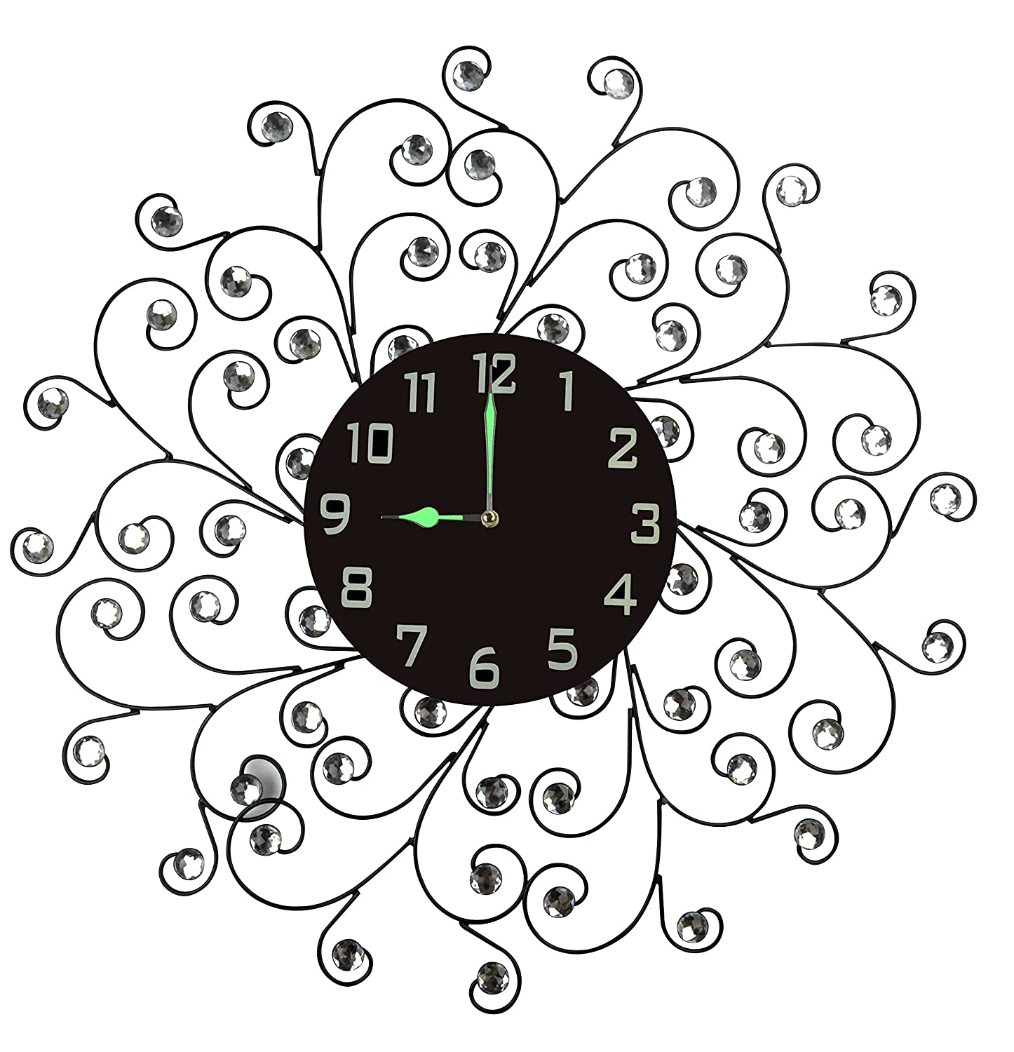 """Lulu Decor, Creeper Metal Wall Clock 25"""", 9.5"""" Black Glass Dial with Arabic Numbers, Decorative Night Dial Clock for Living Room, Bedroom, Office Space"""