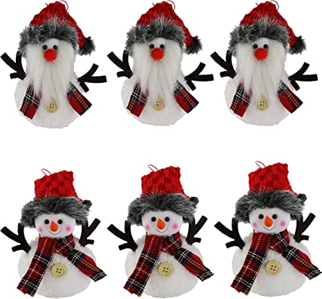 Amazon Com Bstaofy Wewill 6 Pack Adorable Christmas Flexible Elf Dolls Plush Hanging Tree Ornament Sets Santa And Snowman 5 5inch Kitchen Dining