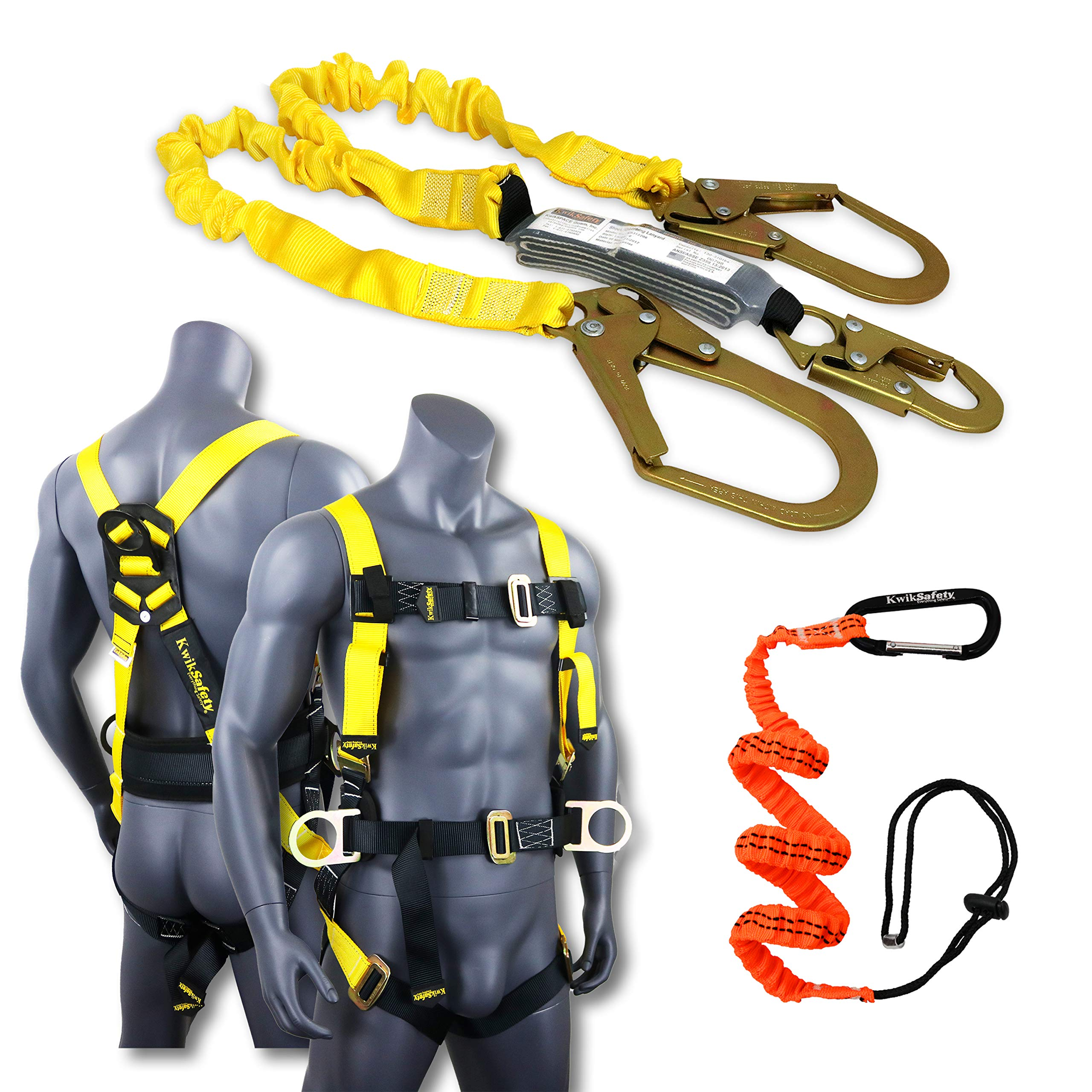 KwikSafety (Charlotte, NC) PYTHON (COMBO) Double Leg 6ft Tubular Stretch Safety Lanyard | OSHA ANSI Fall Protection EXTERNAL Shock Absorber | Construction Arborist Roofing | Snap Rebar Hook Connector by KwikSafety (Image #1)