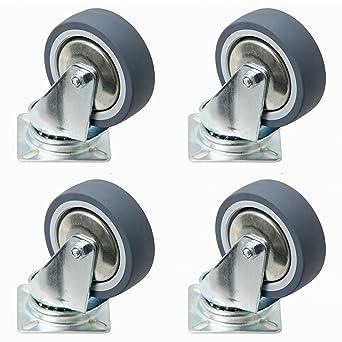 4 pieza Rodamientos de ruedas 75 mm, rodamiento ruedas con freno como transporte rollo también