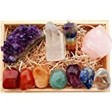 Premium Healing Crystals Gift Kit in Wooden Box - 7 Chakra Set Tumbled Stones, Rose Quartz, Amethyst Cluster, Crystal Points, Chakra Pendulum + 82 Page EBook + 20x6 Reference Guide Poster, Gift Ready