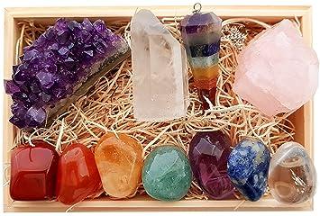 Amazonpremium healing crystals gift kit in wooden box 7 chakra premium healing crystals gift kit in wooden box 7 chakra set tumbled stones rose negle Gallery