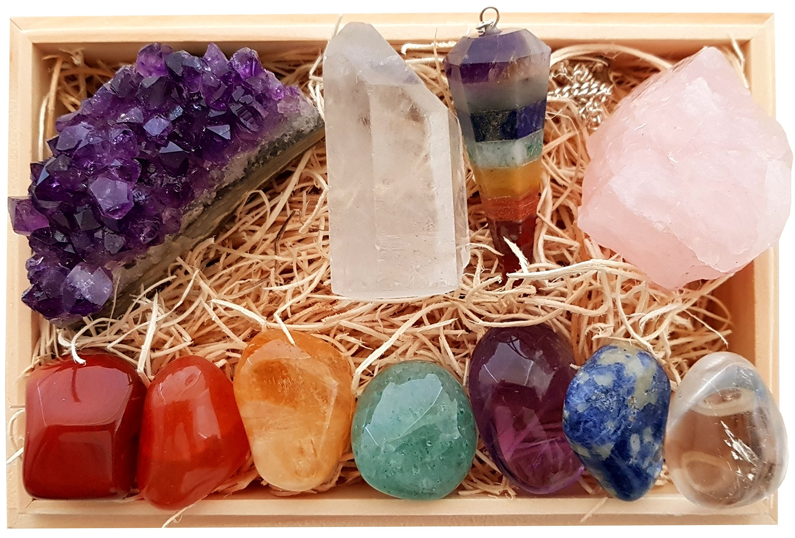Premium Healing Crystals Gift Kit in Wooden Box - 7 Chakra Set Tumbled Stones, Rose Quartz, Amethyst Cluster, Crystal Points, Chakra Pendulum + 82 Page E-Book + 20x6 Reference Guide Poster, Gift Ready by ZATNY CRYSTALS