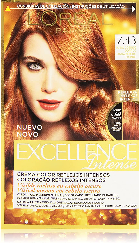 LOreal Paris Excellence Intense Coloración, Tono: 7,43 Rubio ...