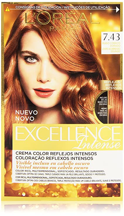 LOreal Paris Excellence Intense Coloración, Tono: 7,43 Rubio Cobrizo Dorado