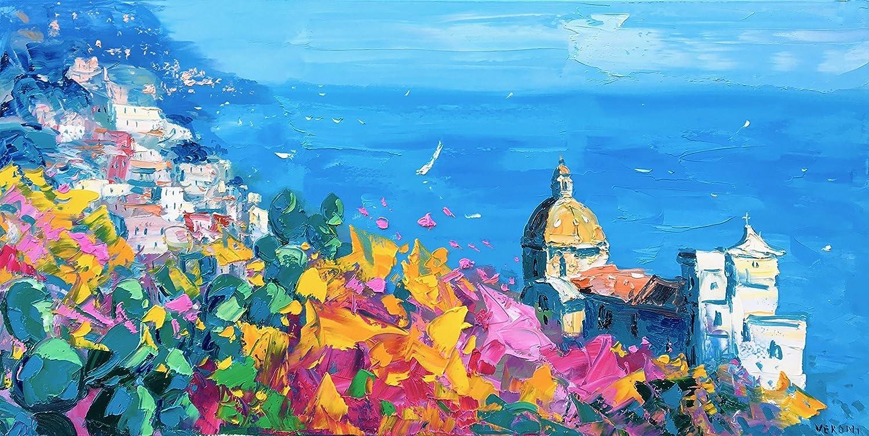 Amazon.com: Positano Italy Art on Canvas Prints Amalfi Coast Poster ...