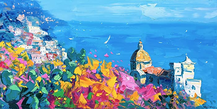 amazon com positano italy art on canvas prints amalfi coast poster