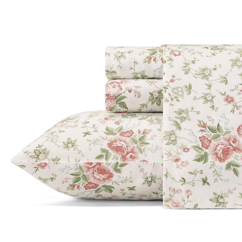 Laura Ashley Lilian Cotton Sateen Sheet Set, Queen, Lt/Pastel Red