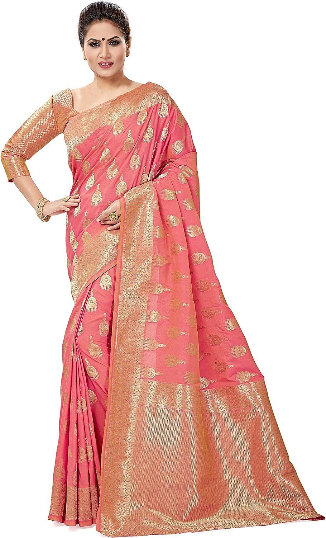 Soru Fashion Women's Banarasi Art Silk Blend Light Pink Saree with Blouse Piece (Cott-668_Multi-Coloured)