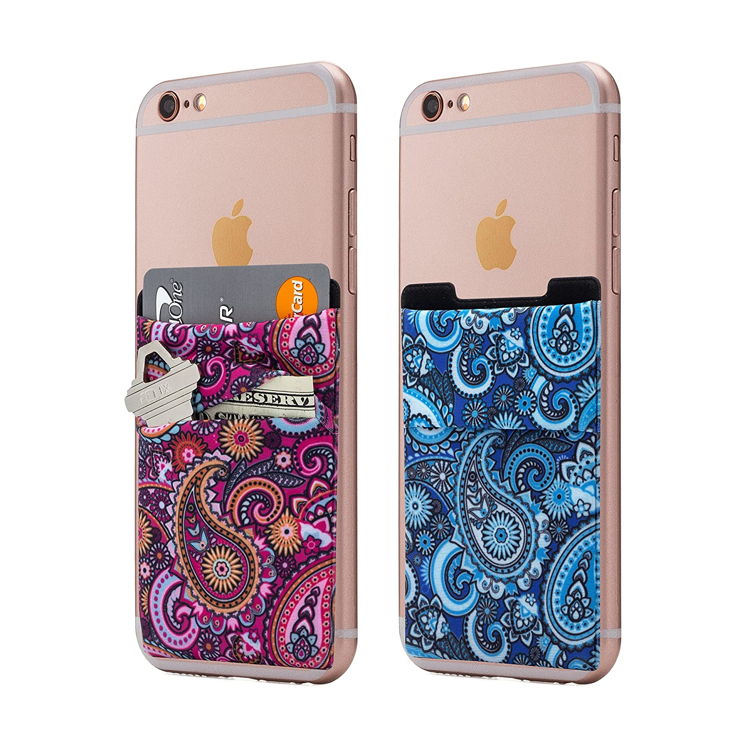 (Two) Stretchy Cell Phone Stick On Wallet Card Holder Phone Pocket For iPhone, Android and all smartphones. (Paisley) Cardly