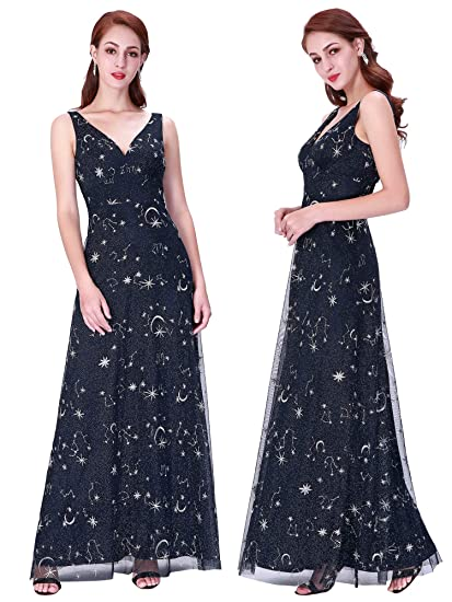 b57017f9a7c Ever-Pretty Women Fashion V Neck Long Evening Party Dress 6US Navy Blue