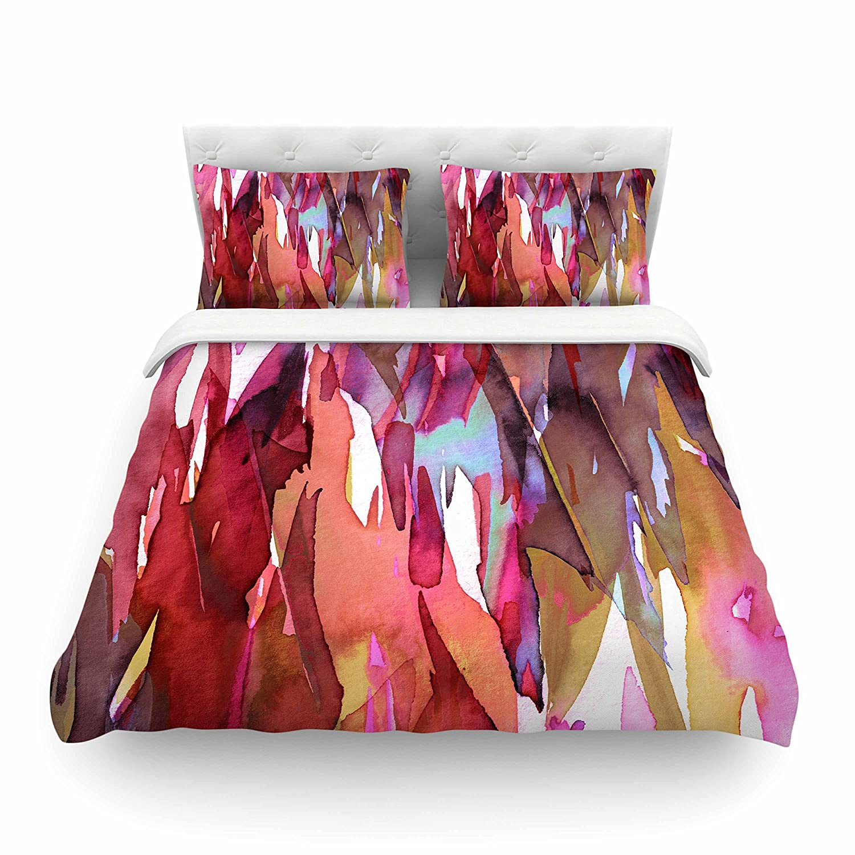 88 x 88 Kess InHouse EBI Emporium Fervor 6 Pink Multicolor Watercolor Queen Featherweight Duvet Cover