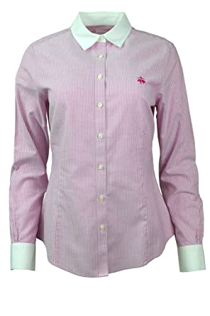9c606a60 Image Unavailable. Image not available for. Color: Brooks Brothers Womens  Striped Contrast Collar Oxford Button Down Shirt Raspberry Red/White ...