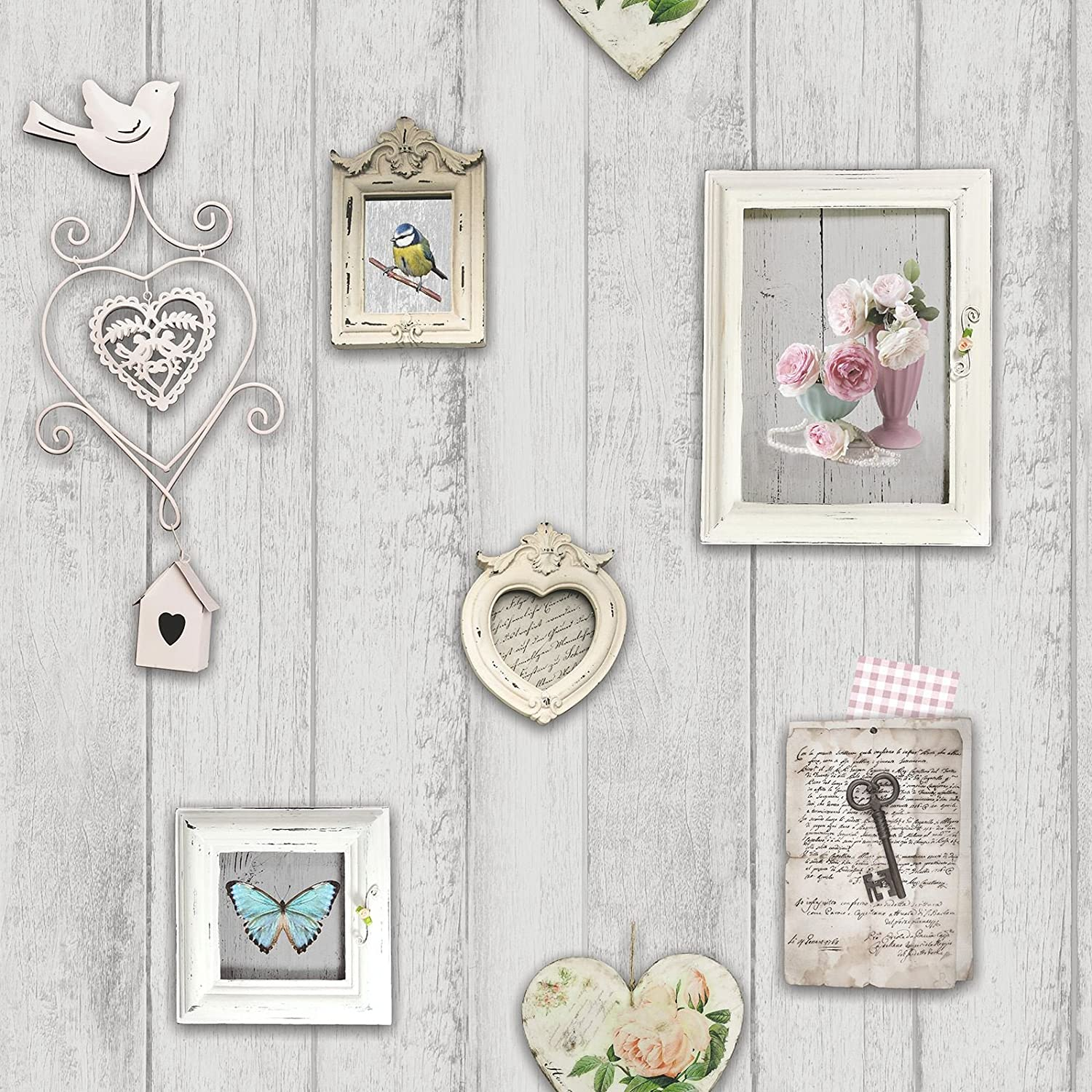 Arthouse Rustic Wood Heart Natural Shabby Chic Feature Wallpaper 669600