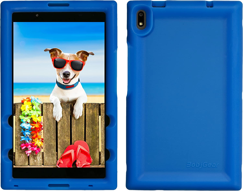 BobjGear Bobj Rugged Tablet Case for Lenovo Tab 4 8 Plus (TB-8704V, TB-8704F, TB-8704X, TB-8704A) - BobjBounces Kid Friendly (Batfish Blue)