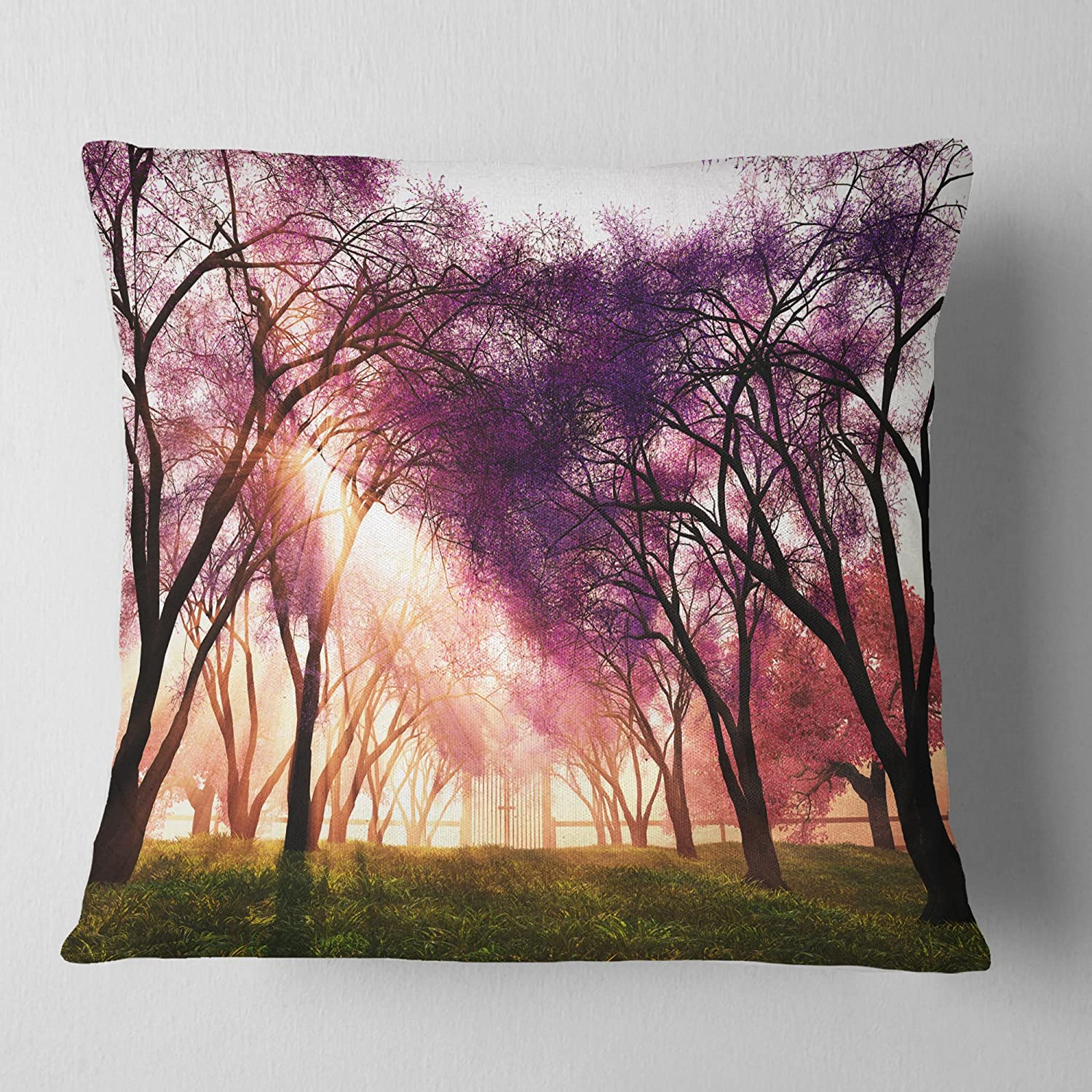 in Sofa Throw Pillow 26 in Insert Side x 26 in Designart CU14294-26-26 Cherry Blossoms Japan Garden Landscape Printed Cushion Cover for Living Room