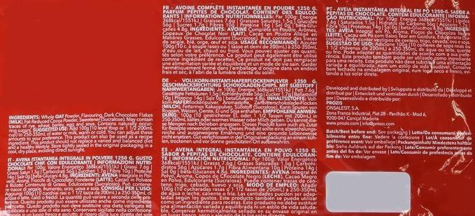 Prozis Oatmeal - Avena Integral, 1250g, Pepitas de Chocolate, 12 Dosis: Amazon.es: Salud y cuidado personal